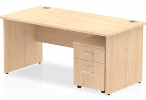 Solar Straight Panel Desk And Pedestal - 1200mm Wide 2 Drawer