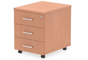 Price Point 3 Drawer Mobile Beech Pedestal
