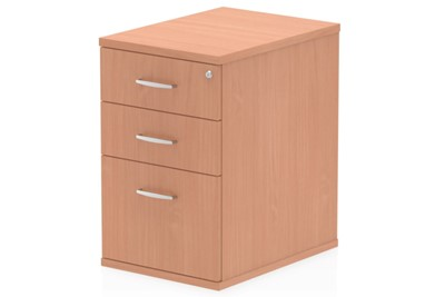 Price Point 3 Drawer Desk High Beech Pedestal
