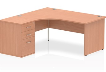 Price Point Beech Corner Panel Desk And Pedestal - 1600mm Left Handed