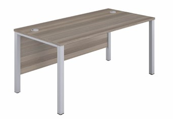 Kestral Grey Oak 1 Person Single Bench Desk - 1200mm Silver 600mm