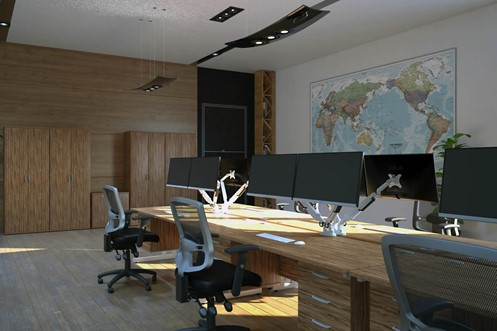 Nova Walnut 3 Drawer Desk High Pedestal