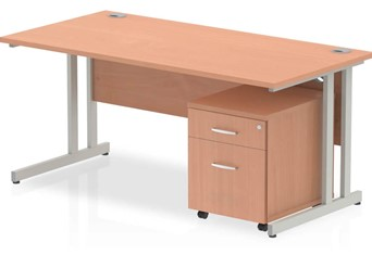 Price Point Beech Straight Desk And Pedestal - 1200mm 2 Drawer