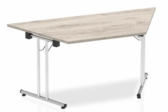 Gladstone Grey Oak Trapezium Folding Table - 1600mm Wide