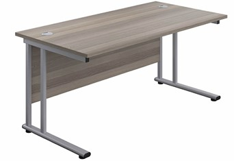 Kestral Grey Oak Rectangular Cantilever Desk - 1200mm Silver