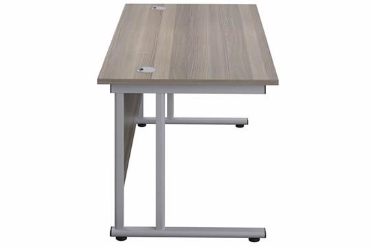 Kestral Grey Oak Rectangular Cantilever Desk
