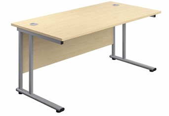 Kestral Maple Rectangular Cantilever Desk - 1200mm Silver