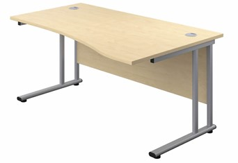 Kestral Maple Wave Cantilever Desk - 1600mm Wide Right Handed Silver