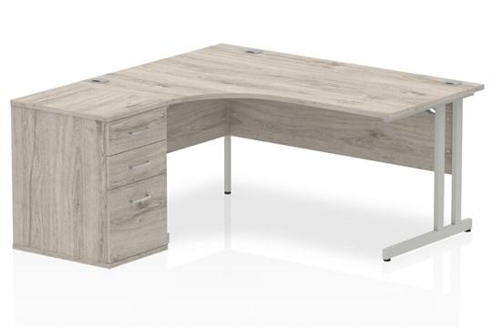 Gladstone Grey Oak Corner Desk And Pedestal