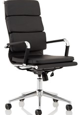 Hawkes Black Leather Chrome Frame Executive Chair
