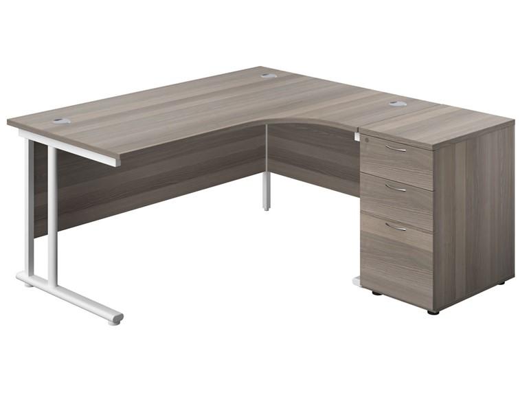 Kestral Grey Oak Corner Desk And Pedestal