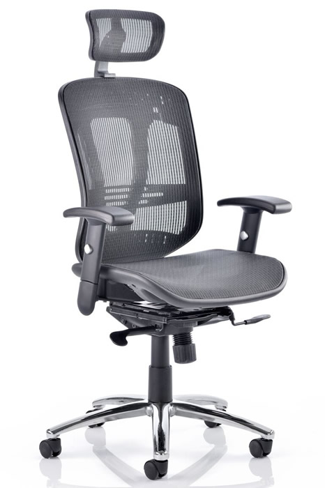 Bentley Black Mesh Office Chair With Headrest