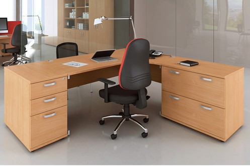 Price Point Beech 2 Drawer Desk High Side Filer