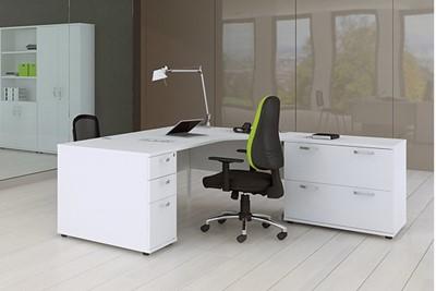 Polar White 3 Drawer Desk High Pedestal