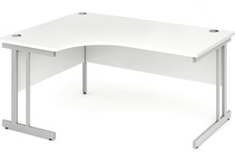 Polar White Cantilever Crescent Desk