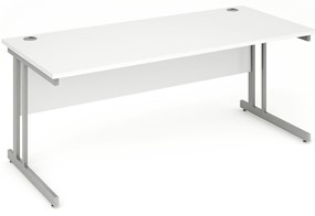 Polar White Rectangular Cantilever Desk