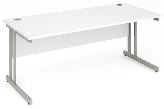 Polar White Rectangular Cantilever Desk