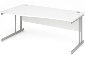 Polar White Cantilever Wave Desk