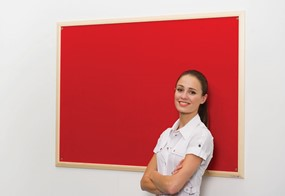 Wood Frame Notice Board - 900 x 600mm Light Beech Frame Red