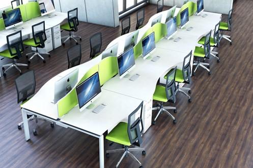 Aura Beam 2 Person Wave Extension Desk