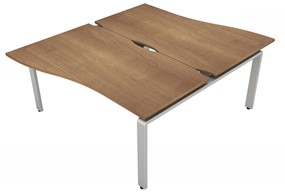 Aura Beam 2 Wave Bench Desk - 1200mm 1200mm Birch Silver