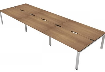 Aura Beam 6 Rectangular Bench Desk - 3600mm 1200mm Birch Silver