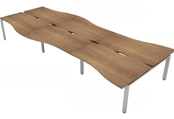 Aura Beam 6 Wave Bench Desk - 3600mm 1200mm Birch Silver