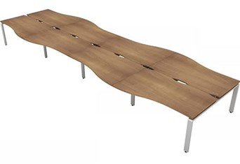 Aura Beam 8 Wave Bench Desk - 4800mm 1200mm Birch Silver