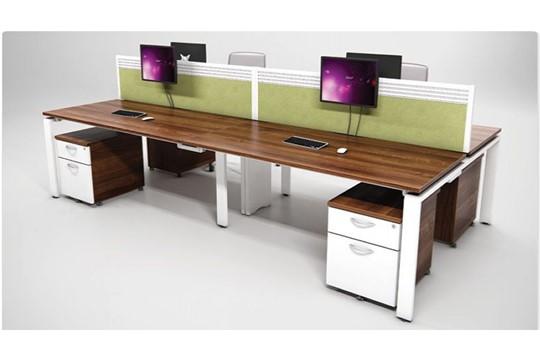 Aura Beam 4 Person Rectangular Bench Desk