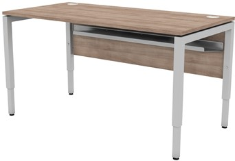 Delta Height Settable Rectangular Desk - W1000 x D600 x H740mm Birch Silver