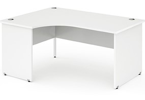 Polar White Panel End Crescent Desk