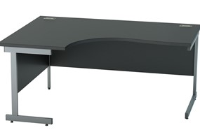 Nene Black Corner Cantilever Desk - 1400mm x 1200mm Left Hand