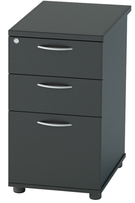 Nene Black Desk High 3 Drawer Pedestal Lockable