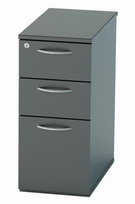 Nene Black Narrow 3 Drawer Under Desk, Under Desk Storage Drawer
