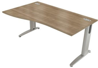 Domino Beam Wave Cantilever Desk - Left Handed Birch 1200mm x 800mm