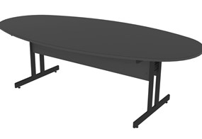 Nene Oval Black Boardroom Table
