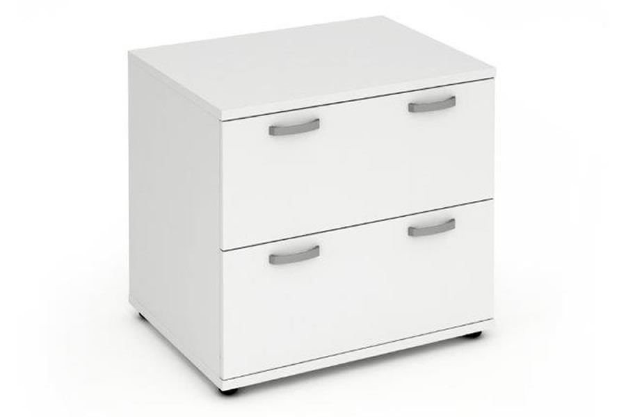 Polar White Two Drawer Desk High Side Filer
