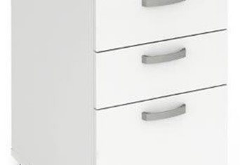 Polar White 3 Drawer Desk High Pedestal - 600mm Deep