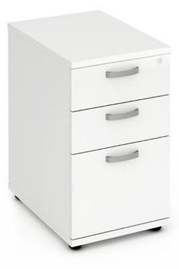 Polar White 3 Drawer Desk High Pedestal