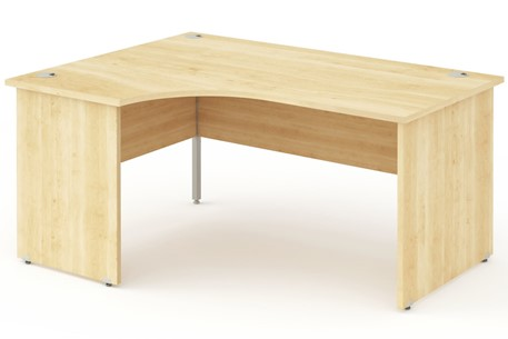 Solar Maple Panel End Crescent Desk
