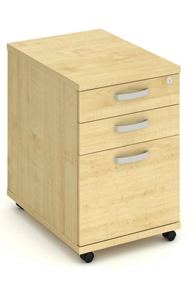 Solar Maple 3 Drawer Desk High Pedestal