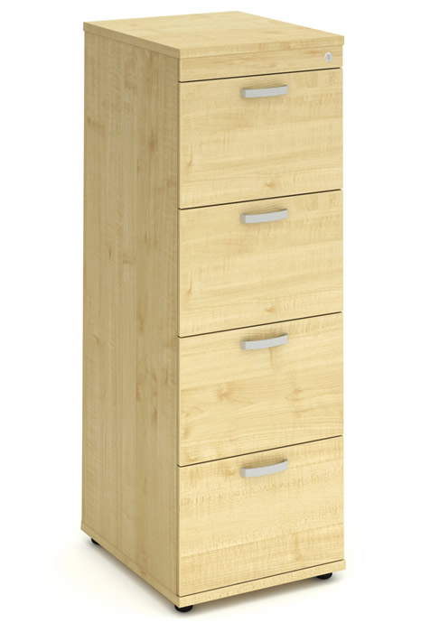 Solar Maple 4 Drawer Filing Cabinet