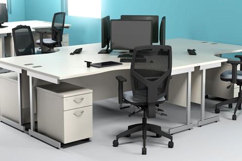 Avon White Wave Panel Leg Desk