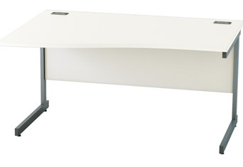 Avon White Wave Cantilever Desk - 1400mm Left Hand Wave