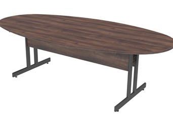 Harmony Oval Walnut Boardroom Table - 1800mm Grey