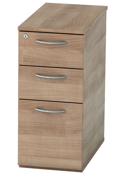 Birch Narrow Under Desk Pedestal Lockable Drawers Thames