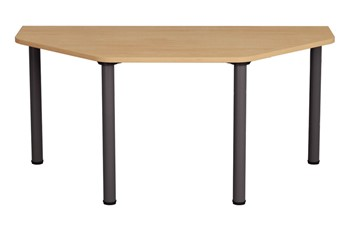 Thames D-End Meeting Table - 1200mm Beech Iron Grey
