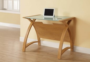 Curve Laptop Computer Desk - Oak 900mm