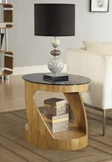 Curve Oval Lamp Table - Oak