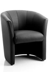Neo Single Tub Chair - Black Leather